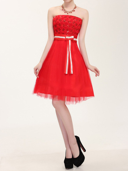 Red Sequin Lace Strapless Short Dress
