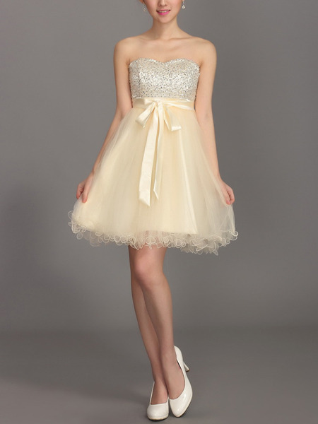 Champagne Sequin Mesh Strapless Short Dress