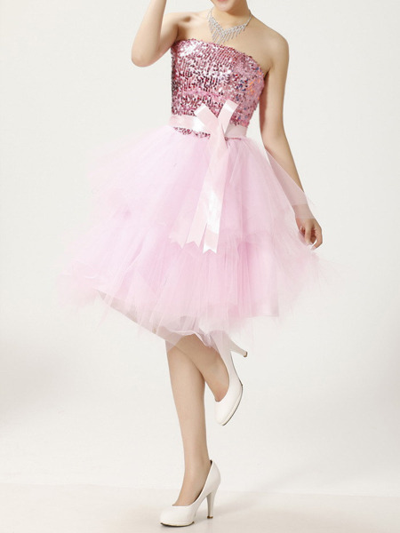 Pink Sequin Strapless Short Dress