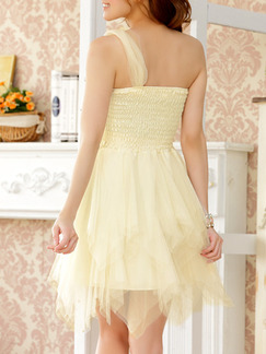 Champagne Chiffon Lace One Shoulder Sequin Short Dress for Cocktail Party