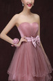 Pink Fit & Flare Strapless Plus Size Above Knee Dress for Bridesmaid Prom