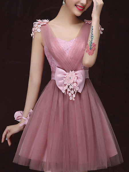 Pink Lace Chiffon Floral Dress