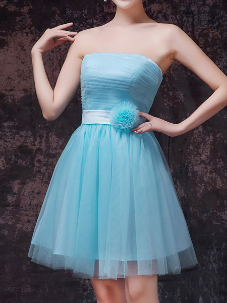 Blue Strapless Short Dress for Cocktail Bridesmaid Prom Cocktail
