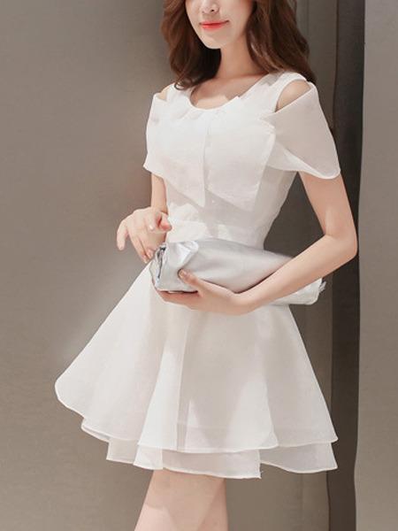63bdbc3cc9bc White Chiffon Off Shoulder Short Sleeves Short Dress for Party ...