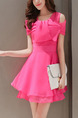 Pink Off Shoulder Fit & Flare Above Knee Dress for Party Casual Evening