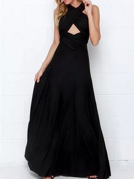 Black Maxi Plus Size Halter Dress for Prom Cocktail Evening Ball
