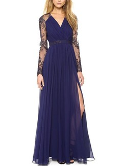 Blue V Neck Plus Size Maxi Long Sleeve Lace Dress for Prom Cocktail Evening
