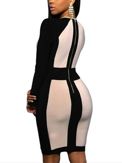 Black and Beige Bodycon Above Knee V Neck Long Sleeve Dress for Cocktail Party Evening