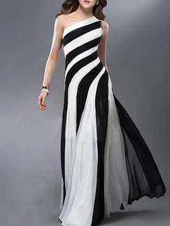 Black and White Maxi One Shoulder Plus Size Dress for Prom ...
