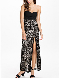 Black Strapless Maxi Dress for Cocktail Prom