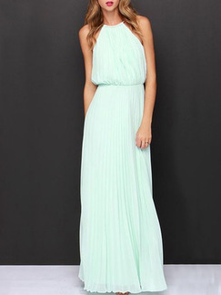 Blue Halter Long Dress for Cocktail Prom Formal
