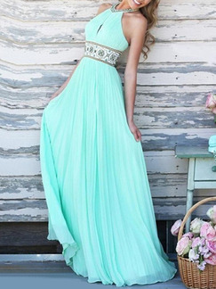 Green Halter Maxi Plus Size Dress for Cocktail Prom Ball