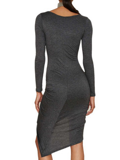 Grey Midi Long Sleeve Bodycon Dress for Cocktail Prom  Special Offer