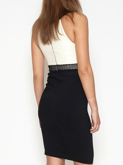 Black and White Halter Bodycon Above Knee Plus Size Dress for Cocktail Evening Party