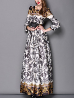 Grey and Yellow Colorful Maxi Long Sleeve Plus Size Dress for Cocktail Prom Evening