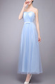 Blue Strapless Maxi Dress for Cocktail Prom Bridesmaid