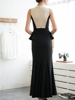 Beige and Black Bodycon Maxi Plus Size Dress for Cocktail Prom Evening Ball