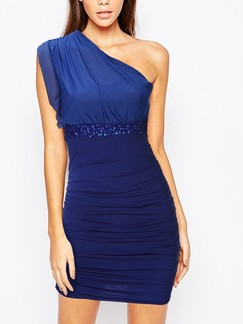 Blue One Shoulder Above Knee Bodycon Dress for Cocktail Evening Party