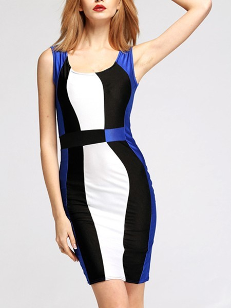 Blue Black and White Bodycon Above Knee Slip Dress for Cocktail Evening Party  Special Offer