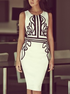 Black and White Bodycon Above Knee Dress for Cocktail Evening Party