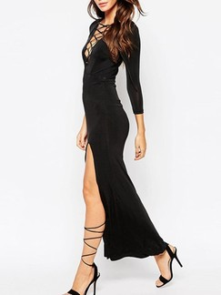 Black Plus Size Bodycon Maxi V Neck Long Sleeve Dress for Cocktail Prom Evening Ball