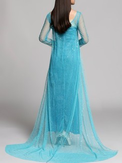 Blue Maxi Plus Size Long Sleeve Dress for Cocktail Prom Ball