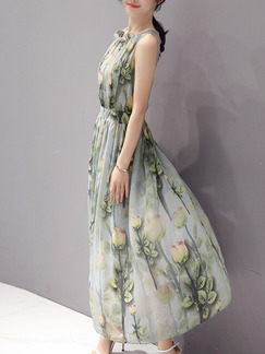 Green Printed Full Skirt Slim Chiffon Plus Size Dress for Casual Office Party Evening