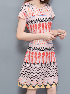Pink Colorful Above Knee Located Printing Slim Plus Size Dress for Casual Office Party
