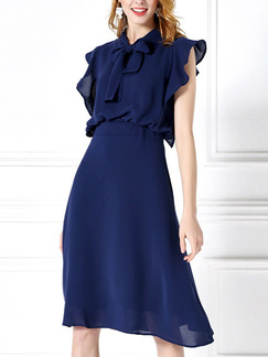 Blue Knee Length Slim Butterfly Knot Ruffled Chiffon Plus Size Dress for Casual Office Evening Party