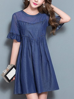 Blue Above Knee Linking Rhinestone Loose A-Line Denim Chiffon Plus Size Dress for Casual Office Evening Party