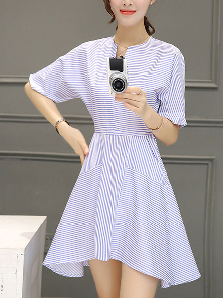 Blue and White Stripe Above Knee Stripe Shirt Asymmetrical Hem Plus Size Dress for Casual Office Party