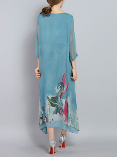 Blue Colorful Maxi Loose Located Printing Plus Size Chiffon Dress for Casual Office Party