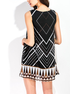 Black and Brown Above Knee Loose A-Line Printed Geometric Pattern Plus Size Dress for Casual Office Evening Party