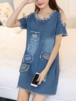 Blue Above Knee Off-Shoulder Bead Embroidery Denim Plus Size Dress for Casual
