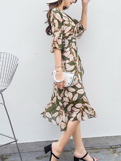 Green and Beige Knee Length Printed Drawstring V Neck Chiffon Plus Size Dress for Casual Office Evening Party
