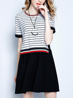 Black White and Red Above Knee Seem-Two Linking Stripe Knitted Plus Size Dress for Casual Office