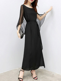 Black Maxi Slim Furcal Flare Sleeve Chiffon Plus Size Dress for Party Evening