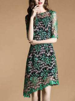 Green Knee Length Slim Lace Asymmetrical Hem Plus Size Dress for Party Evening