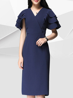 Blue Knee Length Slim V Neck Ruffled Plus Size Dress for Office Evening Party