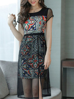 Black Colorful Knee Length Linking Mesh Seem-Two Slim Furcal Plus Size Dress for Casual Office Evening Party