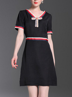Black Above Knee Contrast V Neck Slim A-Line Plus Size Dress for Casuual Office Evening Party