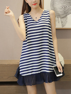 Blue and White Stripe Above Knee V Neck Loose Stripe Linking Plus Size Dress for Casual