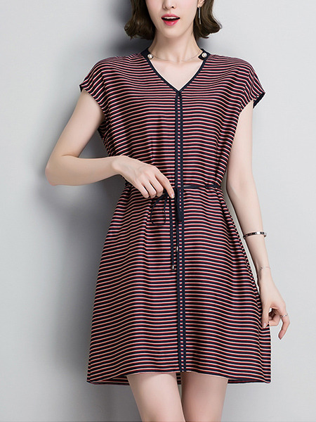 Red and Black Stripe Above Knee V Neck Band Stripe Plus Size Dress for Casual Office