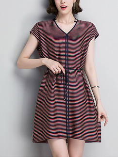 Red and Black Stripe Above Knee V Neck Band Belt Stripe Plus Size Dress for Casual Office