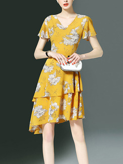 Yellow and Cream Knee Length Printed Slim V Neck Asymmetrical Hem Plus Size Dress for Casual Office Evening Party