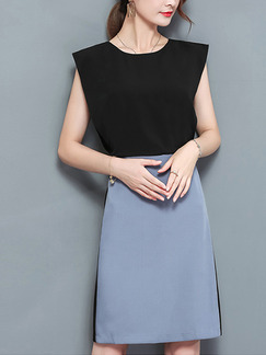 Black and Blue Above Knee Seem-Two Slim Contrast Plus Size Dress for Casual Office Evening Party