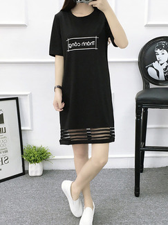 Black and White Above Knee Loose Knitted Linking Plus Size Dress for Casual