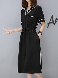 Black and White Knee Length Knitted Contrast Drawstring V Neck Plus Size Dress for Casual Office Evening Party