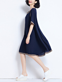 Blue Knee Length Loose Embroidery Chiffon Dress for Casual Office Evening Party
