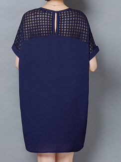 Blue Above Knee Linking Loose Plus Size  Dress for Casual Office Evening Party